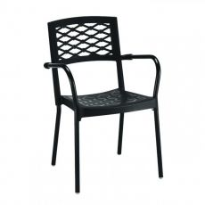 Lula 2090 - Chair with armrests, in aluminium and technopolymer, stackable, for garden