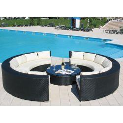 Atollo set de jardin d 39 ext rieur quip de 2canap s en demi cercle et 1 table basse ronde en - Salon de jardin en rotin demi cercle noir ...