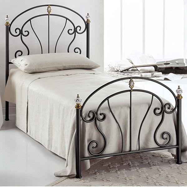 bolero s lit simple en fer forg peinture graphite avec poignes en laiton poli et - Peindre Un Lit En Fer Forg