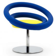 Circle - Designer armchair Adrenalina, swivel, with metal base, available in different fabrics and colors