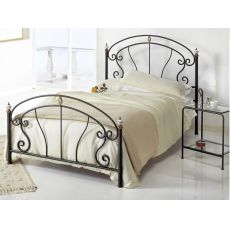 Bolero 120 - French bed in wrought iron with bronzed brass and ceramic decorations