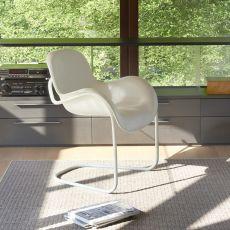 Sled - Sedia Slide in metallo con seduta in poliuretano morbido, diversi colori disponibili
