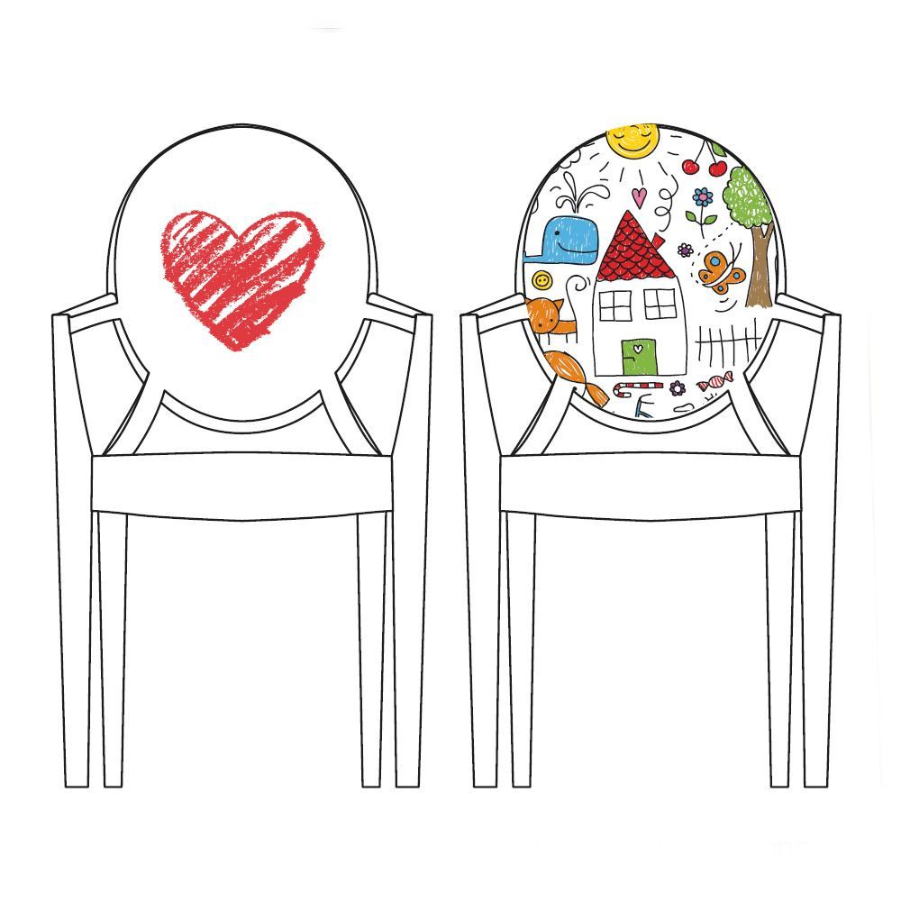 Lou Lou Kids | Sedia design per bambini di Kartell, policarbonato trasparente con decoro cuore o disegno