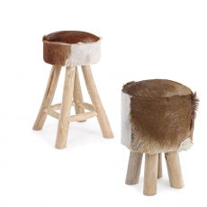 Addis Abeba - Design stool in wood with seat in upholstered pony skin, height 45 or 55 cm