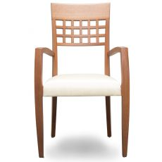 Episodes 317 - Tonon modern chair, with armrests, stackable, wooden frame and upholstered seat