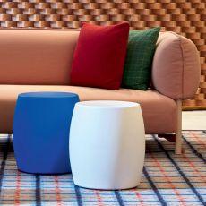 Bart - Sgabello basso - tavolino in tecnopolimero, diversi colori disponibili, anche con illuminazione, per esterno,