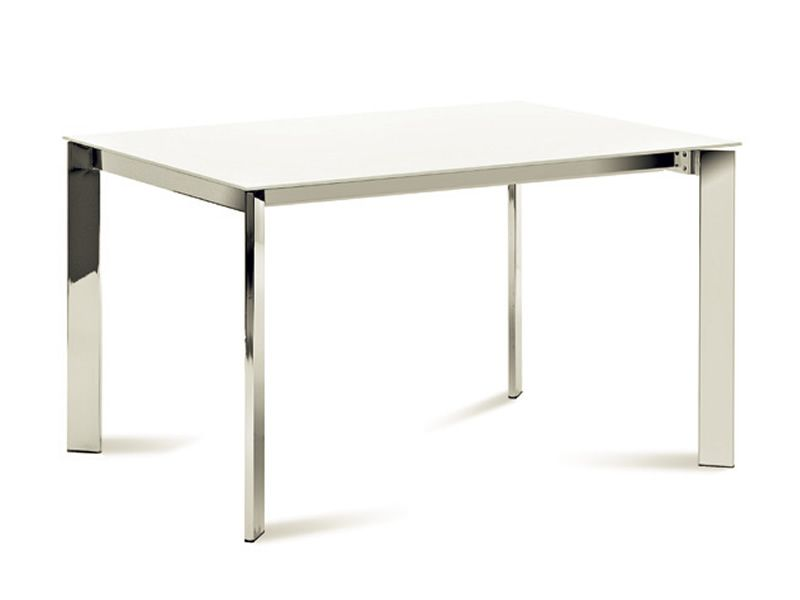 Universe 110 table domitalia en m tal plateau en verre o for Table cuisine 70 x 110