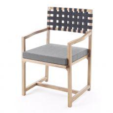 Exit Chair.p - Poltroncina Colico per giardino, in teak riciclato, con seduta imbottita e rivestita, schienale in cinghie di tessuto poliestere, disponibile in diversi colori