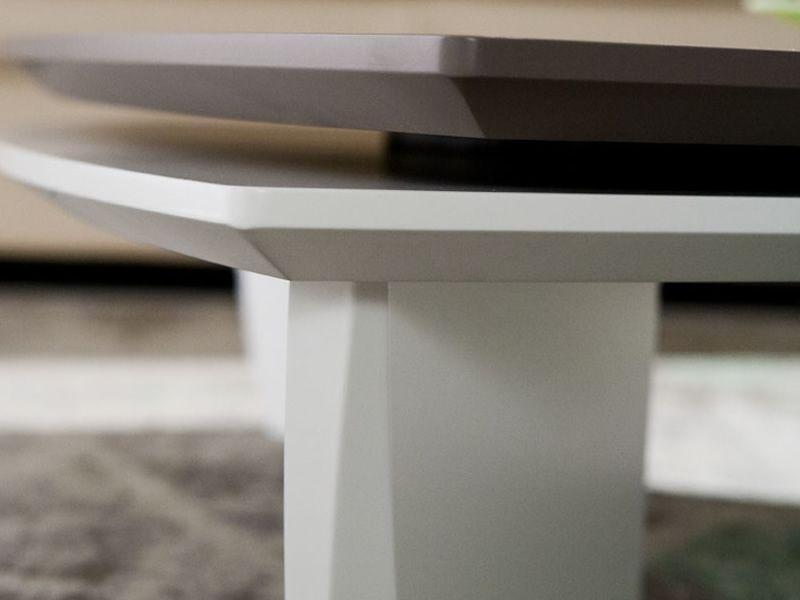 Pa372b table basse en bois bicolore plateau pivotant for Table bois bicolore
