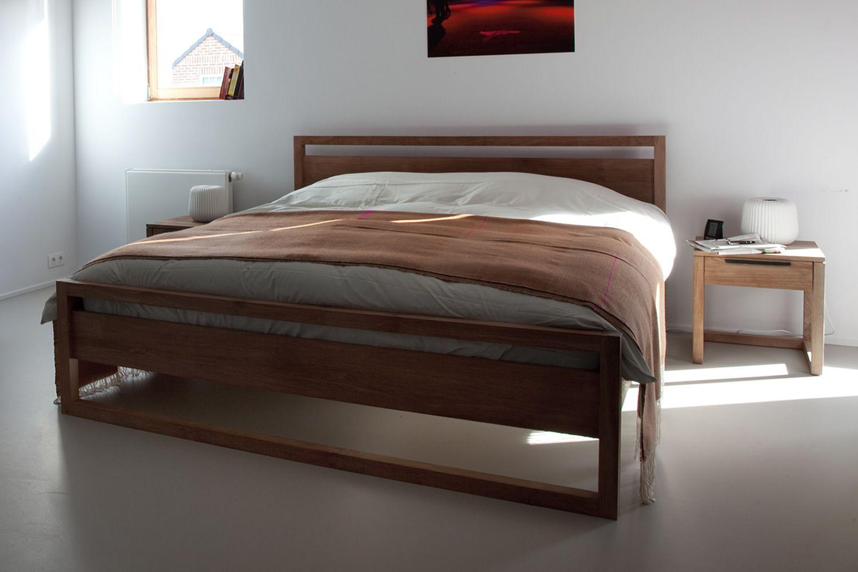 Light frame cama matrimonial ethnicraft con estructura de - Estructuras de camas ...