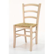 110 - Silla rústica en madera, disponible en varios colores, con asiento en madera, paja o distintos tapizados