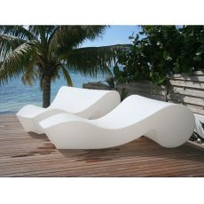 Rococò - Slide chaise longue on wheels, in polyethylene, different colours, also with light system and for garden