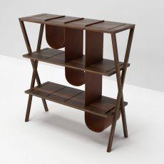 Josè - Libreria Valsecchi in legno di noce con dettagli in pelle
