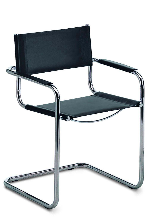 Verna sedia per sala d 39 attesa in metallo cromato e for Sedie in cuoio