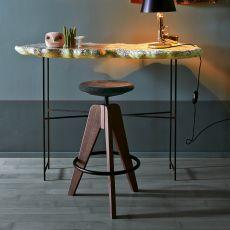 Tom - Sgabello Colico in legno, girevole e regolabile, seduta in sughero