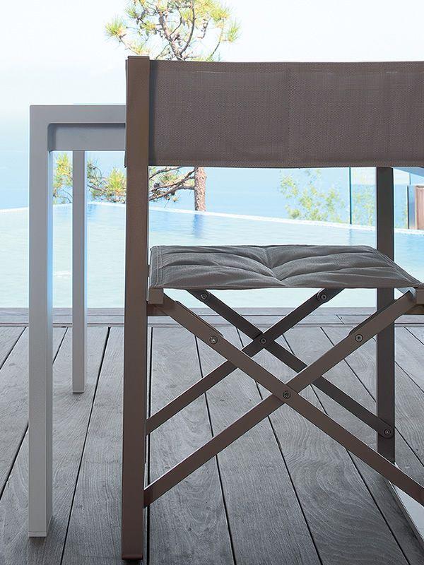 Chic r silla de director de cine de aluminio y textilene plegable para exteriores sediarreda - Sillas director de cine ...