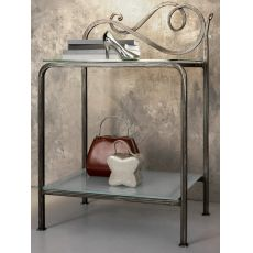 Toledo - Wrought-iron bedside table with glass tops, in several colours