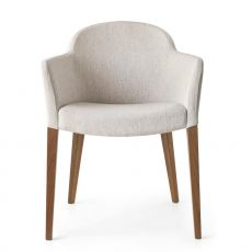 CB1110 Gossip PROMO - Connubia - Calligaris wooden armchair with armrest, padded seat, different colours available