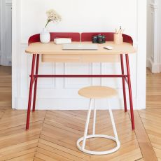 Victor - Design writing desk in metal and wood, with drawers