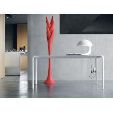 8065 Light - Tavolo design Tonin Casa, in metallo, piano legno o vetro, 140x90 cm allungabile
