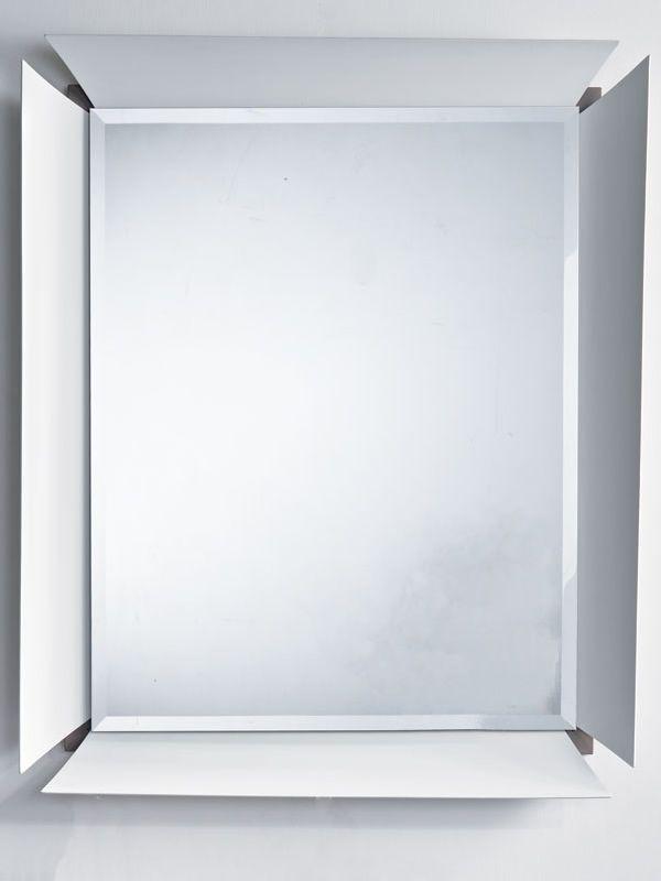 Due B - Specchio con cornice bianca e fondo in laminato grigio cenere