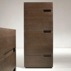 Asola-D - Commode haute Dall'Agnese en bois, disponible en plusieurs finitions, à 6 tiroirs