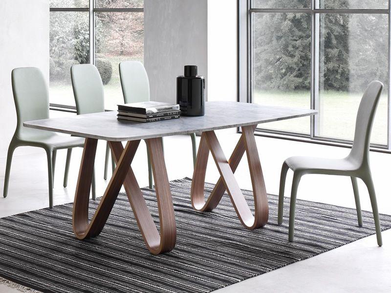 8070 l butterfly tavolo fisso tonin casa in legno piano for Tavolo marmo design