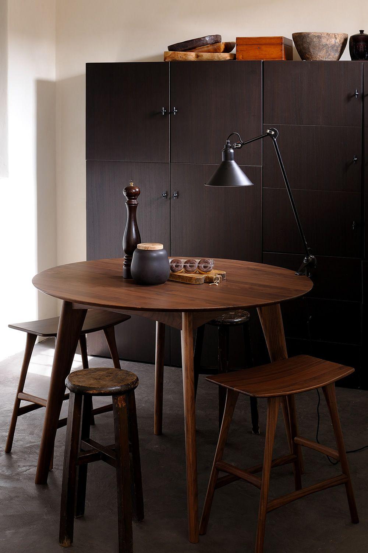 Osso h mesa alta ethnicraft de madera tapa redonda di metro 120 cms - Mesa alta con taburetes ...