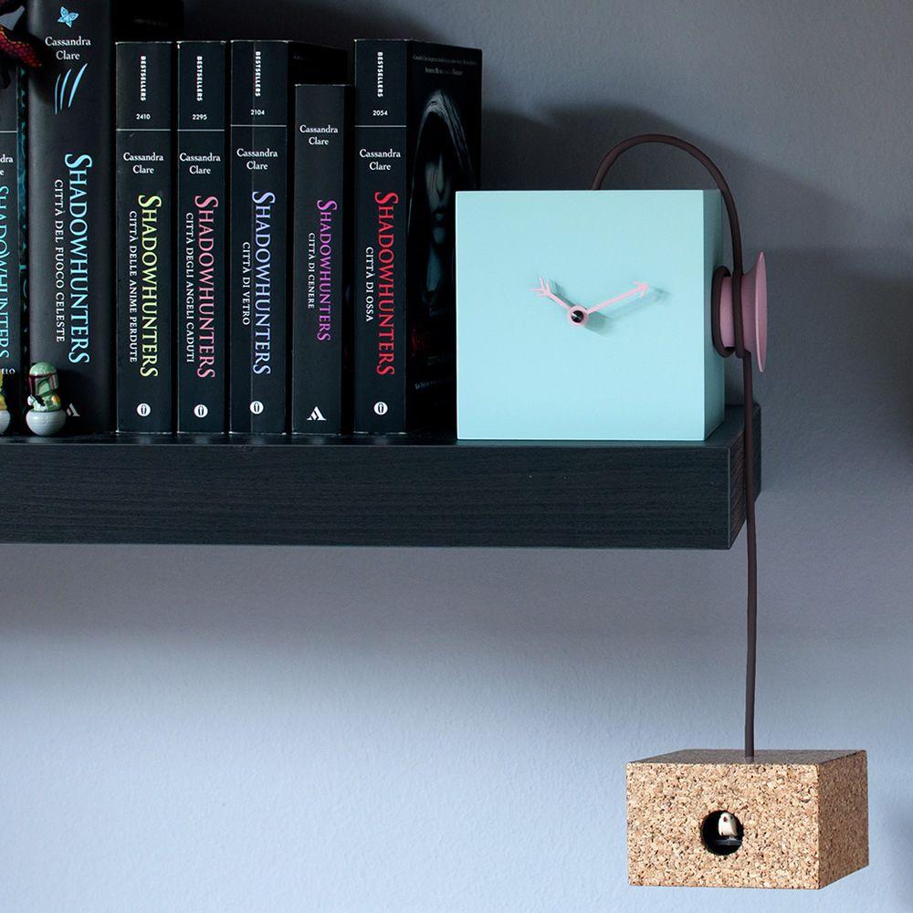 Uhuhu orologio a cuc da parete o da tavolo in legno e sughero diversi colori disponibili - Mezzo tavolo da parete ...