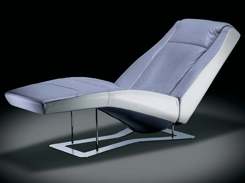 ethos chaise longue moderne en cuir bicolore avec. Black Bedroom Furniture Sets. Home Design Ideas