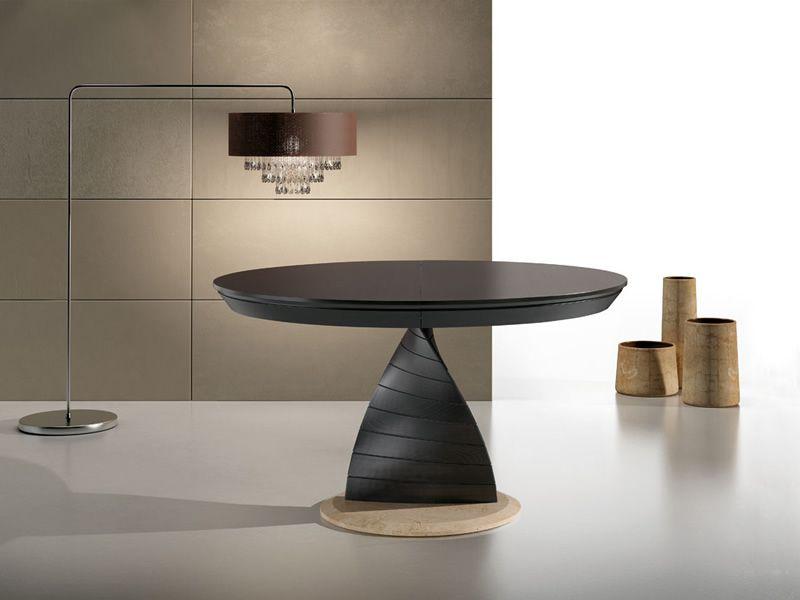 Orel tavolo idealsedia in legno e marmo piano tondo 133 for Tavolo legno piano marmo