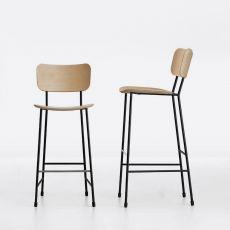 Master SG - Sgabello Midj in metallo, con seduta disponibile in diverse finiture, altezza seduta 66 o 76 cm