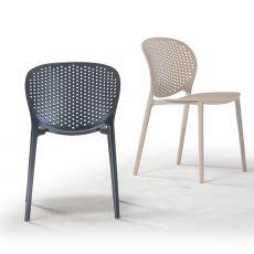 TT1060 - Chaise empilable en polypropylene et fibre de verre, disponible en différentes couleurs, aussi pour l'extérieur