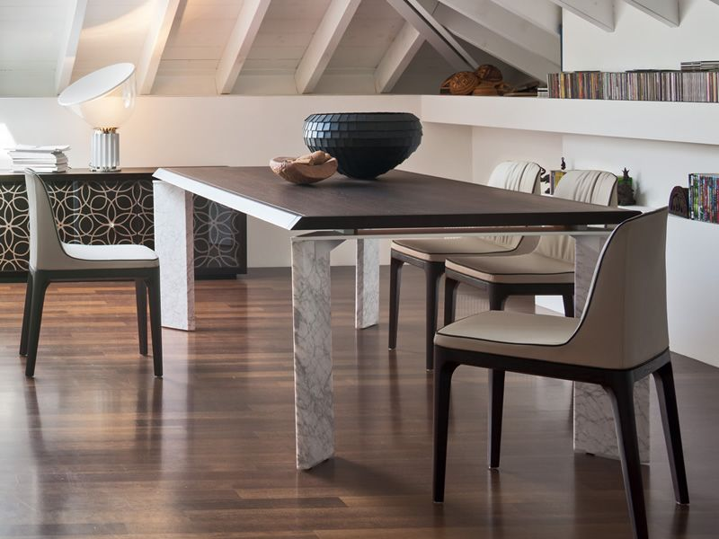 8068F Roma - Tavolo design Tonin, gambe in marmo e piano in legno, 200x110 cm fisso - Sediarreda