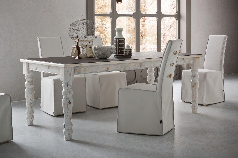 Adriano vintage tavolo shabby chic in legno 160x90 cm for Tavoli shabby chic usati