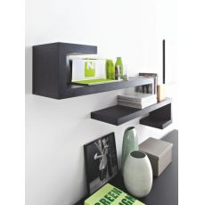 CS6004-7 Seattle - Calligaris modular shelf made of veneered wood in graphite colour