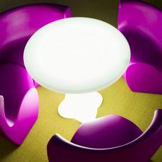 Teddy - Tavolo rotondo in tecnopolimero, diversi colori disponibili, per esterno, anche con sistema luce