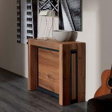 A4 - Consolle in metallo, piano in legno 85x35 cm, allungabile, disponibile in diverse finiture