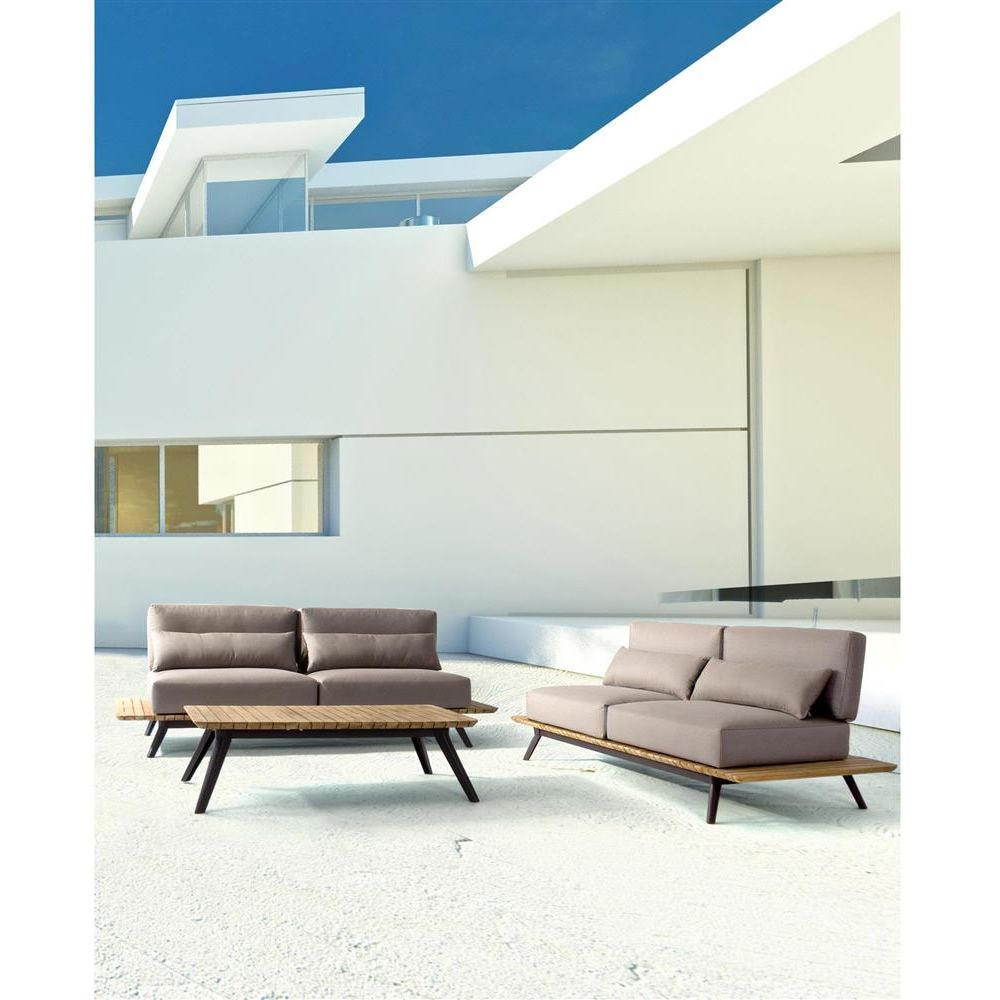 Oka divano da giardino in alluminio e teak sfoderabile sediarreda - Divano da giardino ...