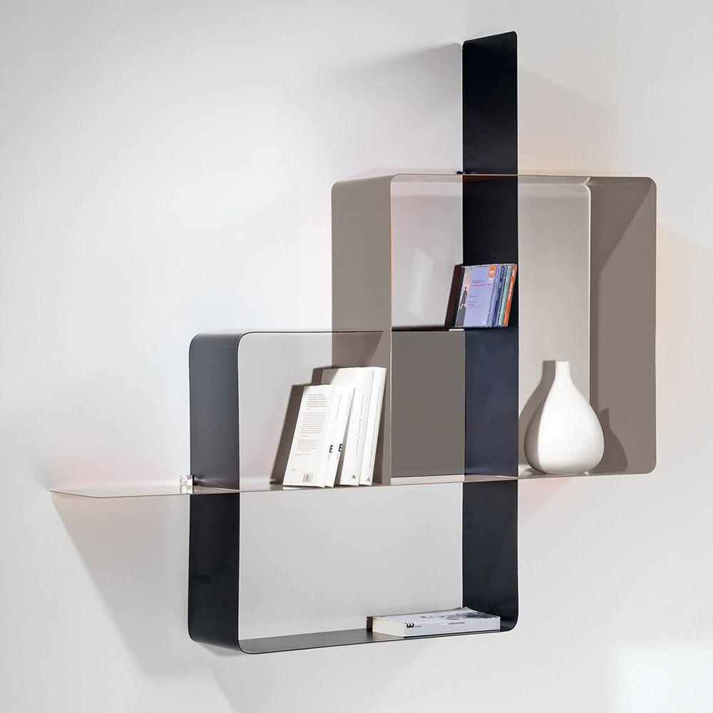 mondrian kombinierbares b cherregal aus lackiertem stahl verschiedene farbkombinationen. Black Bedroom Furniture Sets. Home Design Ideas