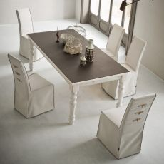 Adriano Vintage - Shabby chic wooden table, 160x90 cm, fixed, top in different materials and finishes