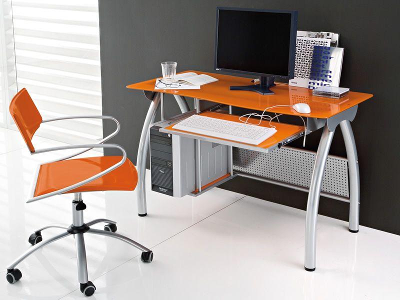 Porto scrivania domitalia in metallo e vetro con porta tastiera