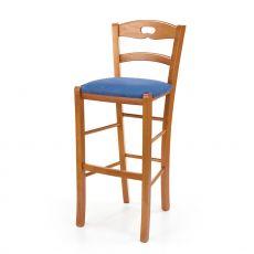 125 S PROMO - Sgabello alto rustico in legno, seduta rivestita in microfibra blu, altezza 73 cm
