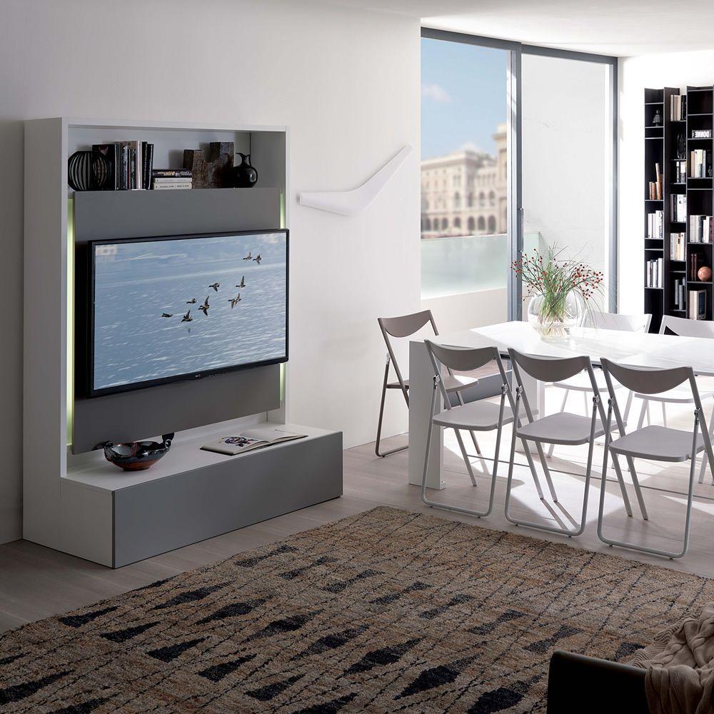 Smart living: Mueble para salón en madera, con por tv, porta sillas ...