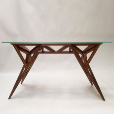 Schegge - Valsecchi design table made of wood with glass top, fixed 200 x 80 cm