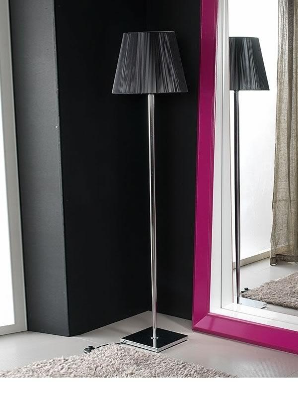 Chrome lampe de sol avec abat jour en tissu ignifuge - Abat jour pour lampe de sol ...