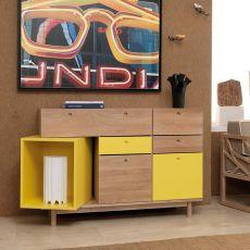 Pandora - Madia moderna per soggiorno, in legno di rovere con dettagli colorati, 133x44 cm