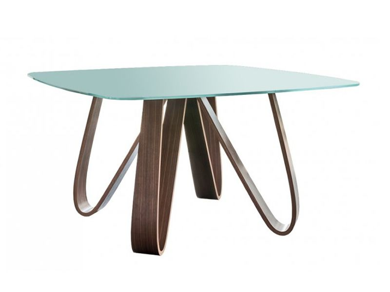 Butterfly 8070 table fixe tonin casa en bois plateau en verre marbre ou plaqu 133 x 133 cm for Plaque verre table