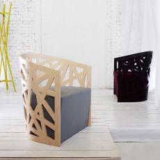 Mazy - Sessel aus Holz, mit gepolstertem Sitz, in verschiedenen Farben verfügbar