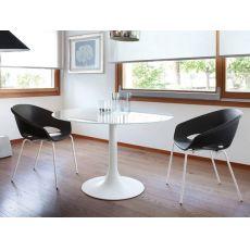Corona 120 - Tavolo rotondo Domitalia in metallo, piano in vetro o MDF, diametro 120 cm